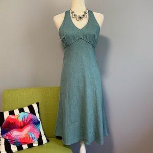 LOFT Empire Waist Linen Blend Blue Midi Dress C9